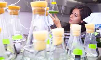 Girl looking at a beaker with algae