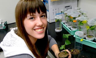 Girl with Plant Samples